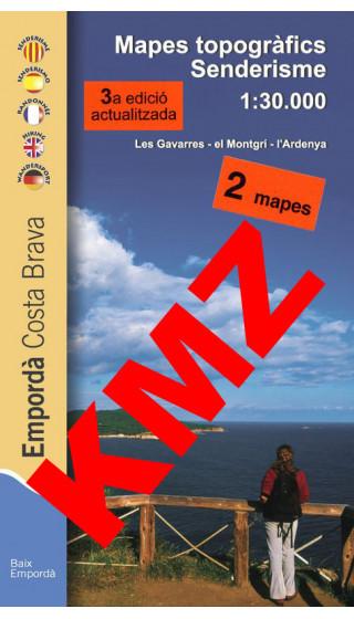 Empordà senderisme. Costa Brava. Les Gavarres, El Montgrí, L'Ardenya. Mapes topogràfics senderisme. Digital Kmz (Garmin, Google