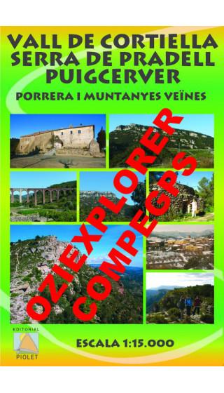 Vall de Cortiella. Serra de Pradell. Puigcerver. Porrera i muntanyes veïnes.Digital CompeGps/Oziexplorer 1:15.000 1a ed