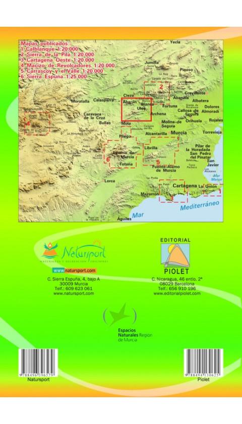 Mapa Valle de Ricote. Sierra de Ricote. Sierra del Oro 1:25.000