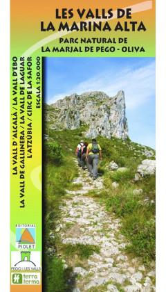 Mapa Les Valls de la Marina Alta. Parc Natural de la Marjal de Pego-Oliva 1:20.000 1a ed