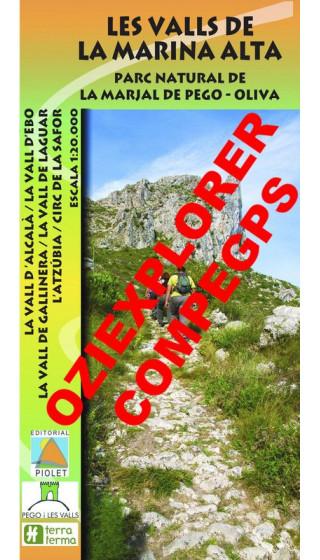 Les Valls de la Marina Alta. Parc Natural de la Marjal de Pego-Oliva. Digital CompeGps/Oziexplorer 1:20.000 1a ed
