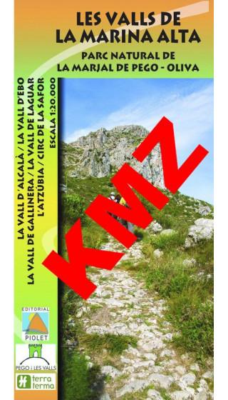 Les Valls de la Marina Alta. Parc Natural de la Marjal de Pego-Oliva. Digital Kmz(Garmin, Google Earth) 1:20.000 1a ed