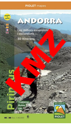 Andorra. Pirineus. Mapa+Guia. Les millors ascensions i excursions. 30 Itineraris.Digital Kmz (Garmin, Google Earth) 1:40.000 1a