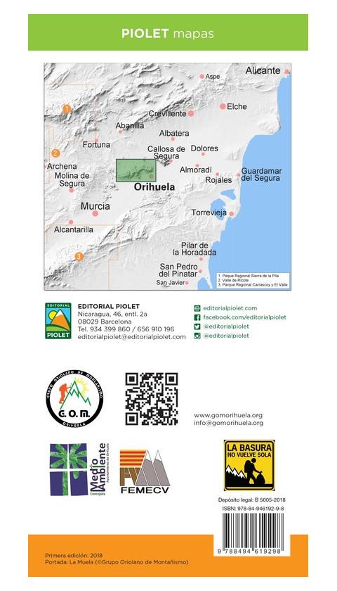 Sierra de Orihuela. Vega Baja del Segura. Formato digital OruxMaps 1:15.000 1a ed