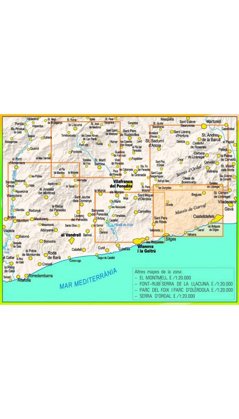 Mapa Camins de l'Alt Penedès.Vilafranca i Rodalies. Rutes a peu i en BTT 1:20.000 1a ed