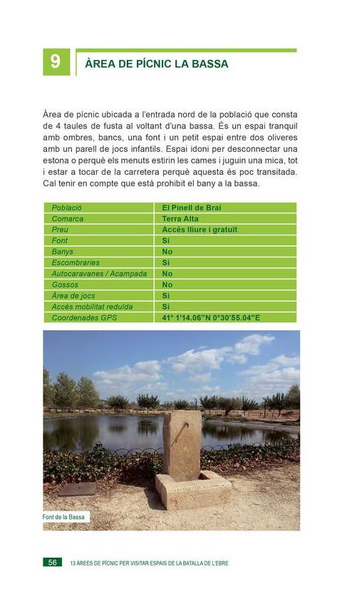 13 Àrees de pícnic per visitar Espais de la Batalla de l'Ebre. Marta Dachs. 1a ed 2019