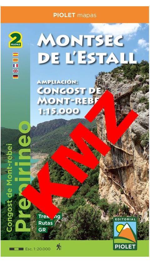 Montsec de l'Estall - Congost de Mont-rebei. Digital Kmz  (Google Earth/Garmin) 1/20.000, 1/15.000 1a ed 2019